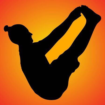 practices: athletic man practices yoga, bending in boat pose, Navasana, exercise for abs, hips, spine, flat belly