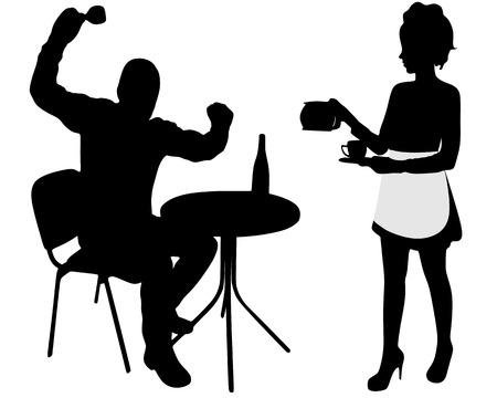 Silhouette betrunken, zorniger Mann und Kellnerin