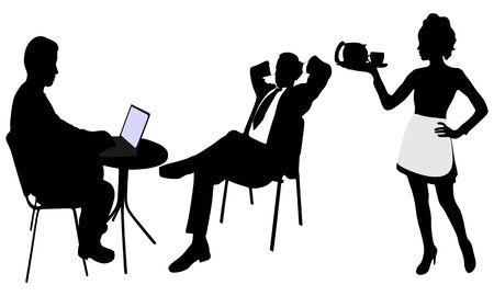 silueta masculina: hombres de negocios inteligentes discutir el proyecto en la computadora portátil mientras camarera sirviendo café