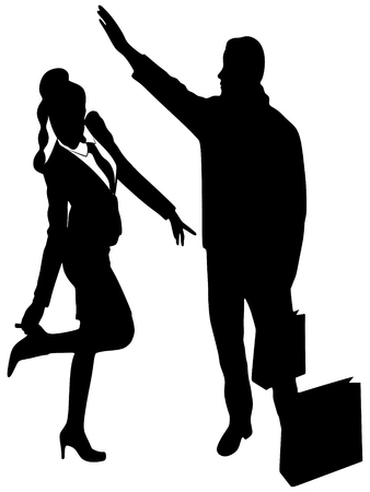 young woman legs up: man calling a Cab while young business woman adjust her shoes