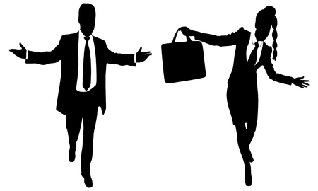 businessman shoes: successful businessman and business woman walking