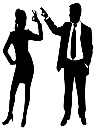 business sign: business people Gesturing OK sign