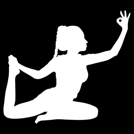 Girl exercising doing yoga, dove pose Illustration