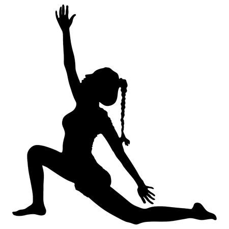practices: Beautiful sporty fit yogini woman practices yoga asana Anjaneyasana