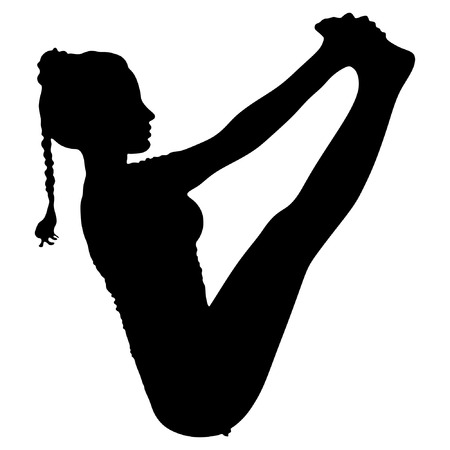 abs: athletic beautiful girl practices yoga, bending in boat pose, Navasana, exercise for abs, hips, spine, flat belly Illustration