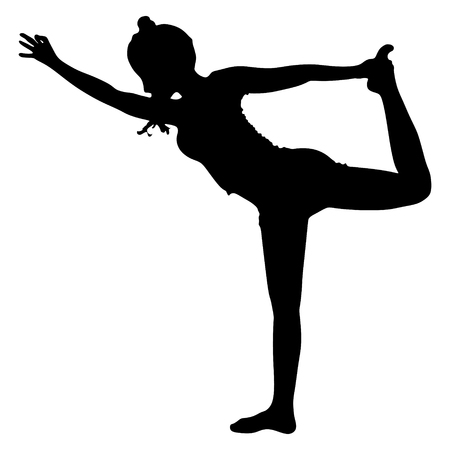 practices: Beautiful sporty girl practices yoga, performing Natarajasana, Lord of the Dance pose, balance workout, full body stretch