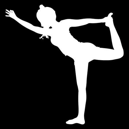 stretch: Beautiful sporty girl practices yoga, performing Natarajasana, Lord of the Dance pose, balance workout, full body stretch