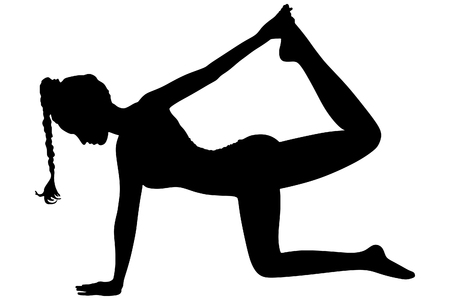 practices: beautiful sporty girl practices yoga, pilates, fitness