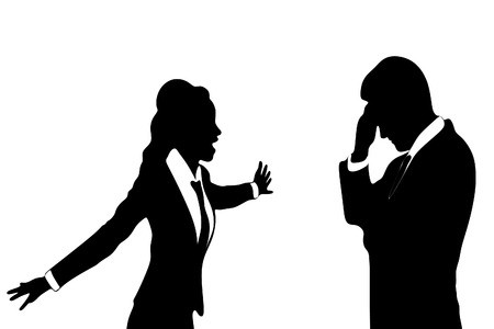 mobbing: angry business woman or boss screaming at business man Illustration
