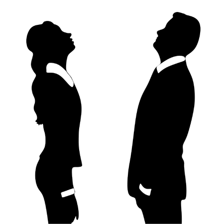 execute: business woman and business man looking up
