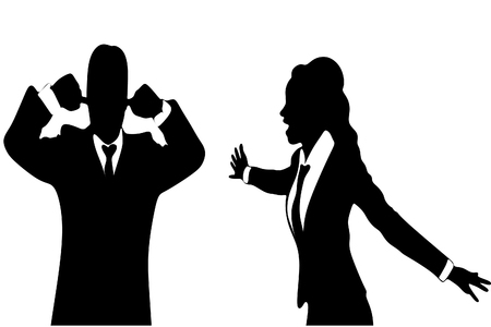 mobbing: angry business woman or boss screaming at business man who covering ears with both hands