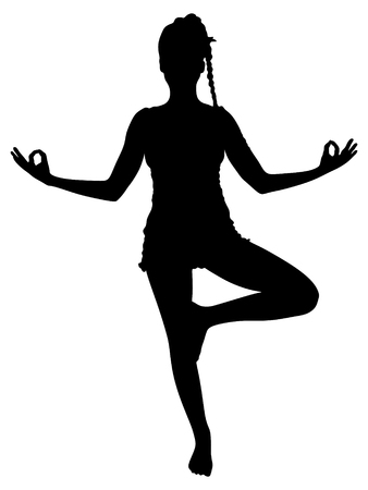 tree position: young woman in tree position during yoga practice
