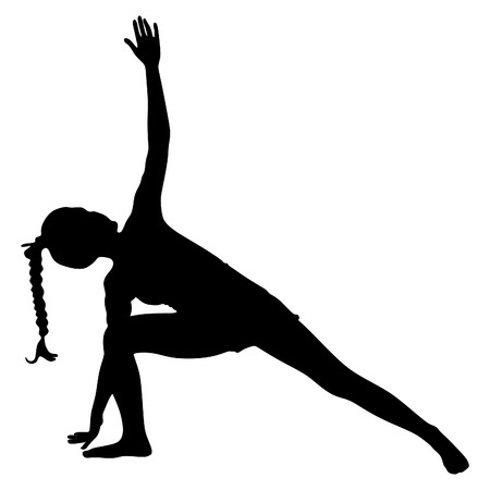 flexible girl: Yoga position, trikonasana Illustration