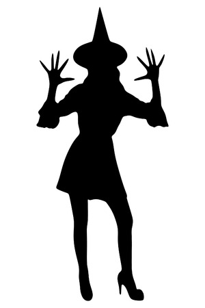 hold high: Silhouette of witch