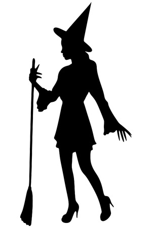 Charming halloween witch with broom