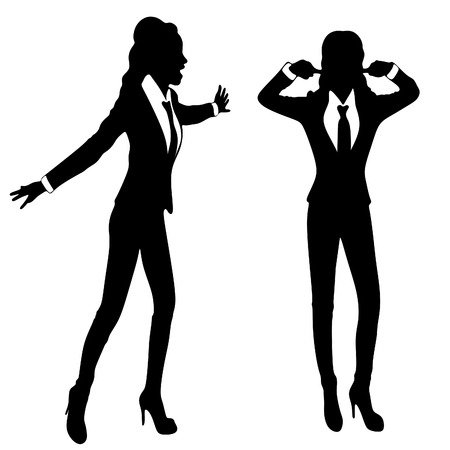 scream: angry business woman or boss scream at another woman, vector sillhouette