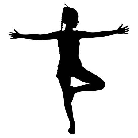woman doing exercises, vector sillhouette Illustration