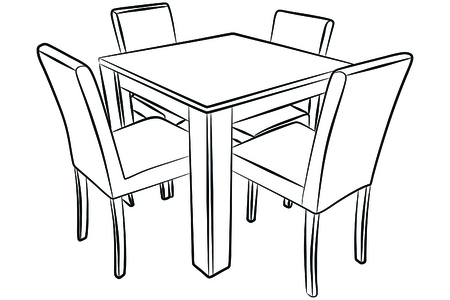 table drawing easy. six empty chairs: kitchen table and chairs drawing easy t
