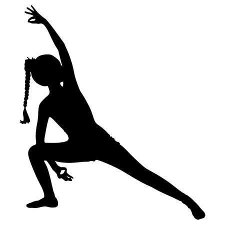 flexible girl: young beautiful woman yoga instructor doing Triangle asana pose, vector sillhouette