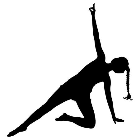 sillhouette: Woman doing exercises, yoga, vector sillhouette