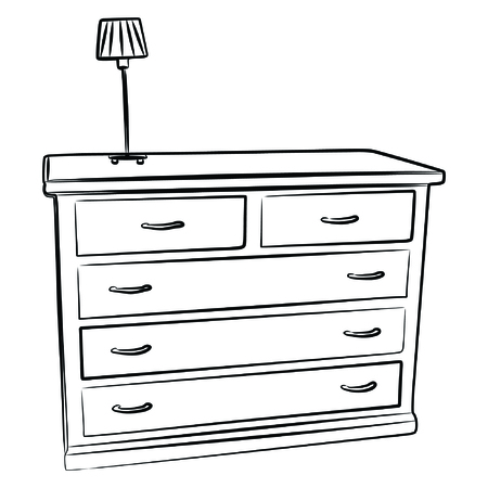 lustre: An antique wooden chest of drawers Illustration