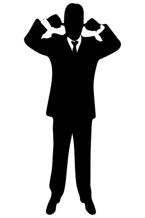 mobbing: business man covering ears with both hands, vector sillhouette