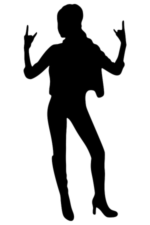 hot teenage girl: Young woman giving the Rock and Roll sign, vector sillhouette Illustration