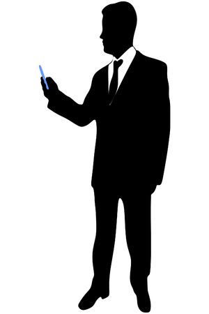 using smart phone: business man using smart phone, vector sillhouette