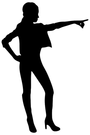 sillhouette: attractive woman pointing her finger, vector sillhouette