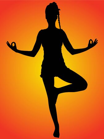 young woman in tree position during yoga practice, vector sillhouette Illustration