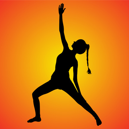 yogi: sporty fit yogi woman practices yoga, vector sillhouette Illustration