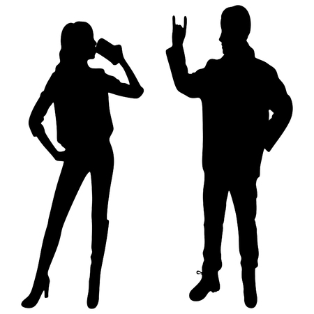 hot teenage girl: Young woman and man giving the Rock and Roll sign, vector sillhouette