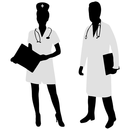 discussing: Doctor and nurse discussing together on medical exam at hospital Illustration