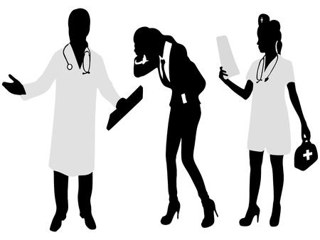 diagnosing: Medical care or insurance concept Illustration