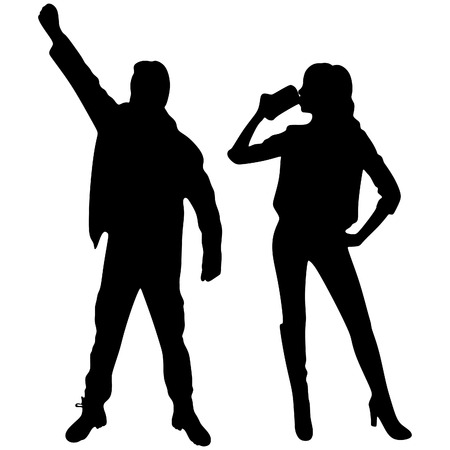 sillhouette: man and woman toast, vector sillhouette