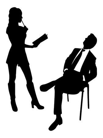 sillhouette: Business people working together, vector sillhouette Illustration