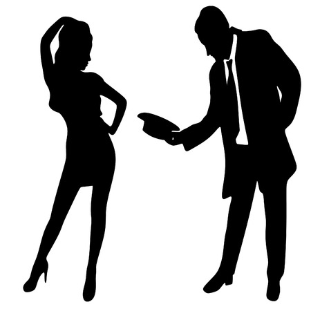 sillhouette: silhouette of the lady and gentleman, vector sillhouette