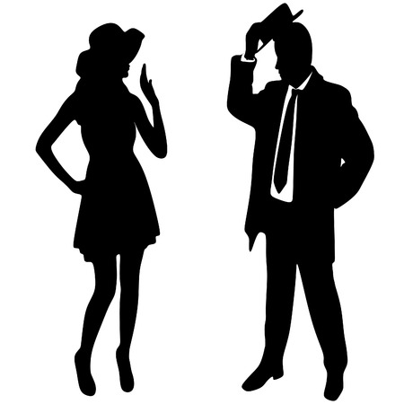 silhouette of the lady and gentleman, vector sillhouette
