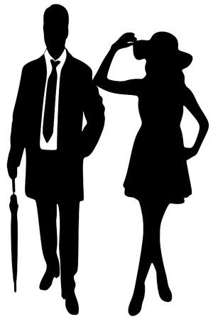 silhouette della signora e signore, vettore sillhouette Vettoriali