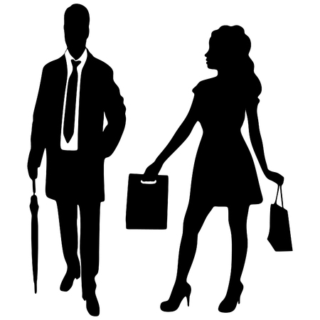 sillhouette: man and woman with shopping bags, vector sillhouette