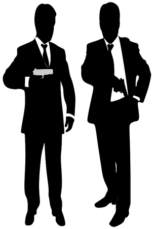 handgun: mafia man with handgun, vector sillhouette