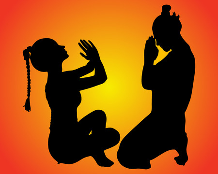 sillhouette: woman and man in prayer position, doing yoga, vector sillhouette