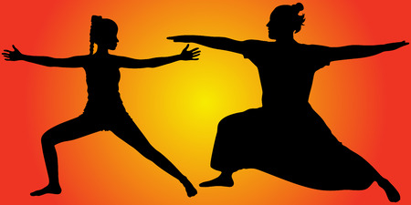 zenlike: man and woman doing yoga, vector sillhouette