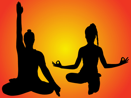 sillhouette: young man and woman doing yoga, vector sillhouette