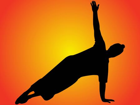 young man doing yoga, vector sillhouette Illustration