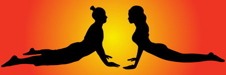 sporty fit yogi man and woman practices yoga, vector sillhouette
