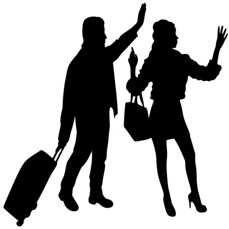 sillhouette: Man and woman traveling, vector sillhouette Illustration