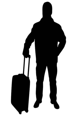 voyager: portrait of smiling happy man with suitcase, vector sillhouette
