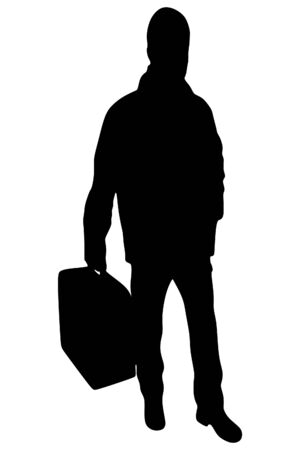 sillhouette: portrait of smiling happy man with suitcase, vector sillhouette