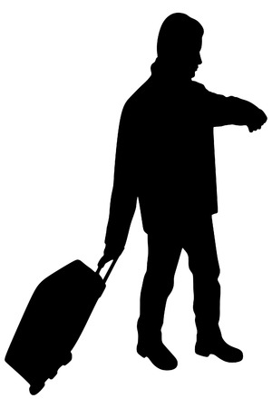 shadow man: portrait of smiling happy man with suitcase, vector sillhouette